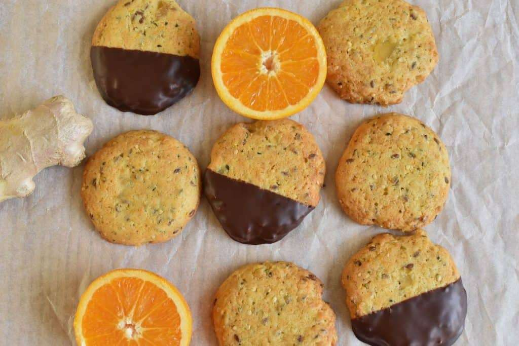 vegan cookies: orange-ginger cookie with chocolate